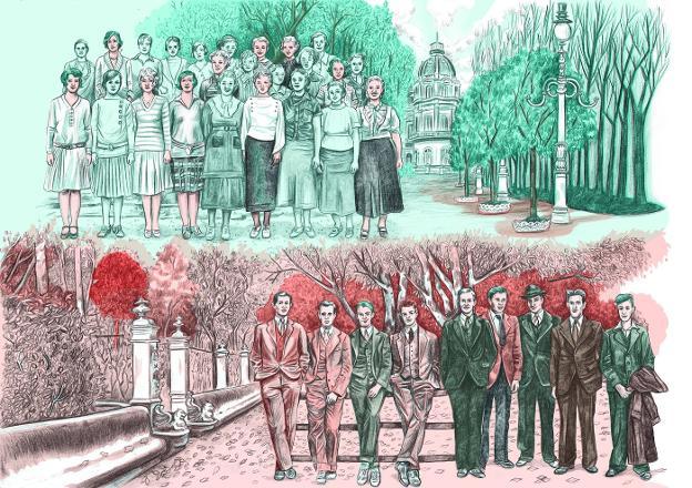 Arriba, uno de los dibujos que ilustran la nueva edición de 'Nosotros, los Rivero'. A la derecha, el informe negativo de la censura que recibió Dolores Medio./