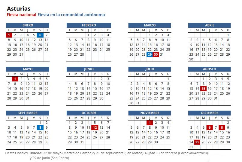 almanaque 2018 con feriados