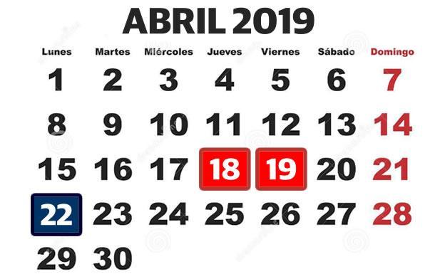 Calendario Festivo.Los Festivos De Jueves Santo Viernes Santo Y Domingo De