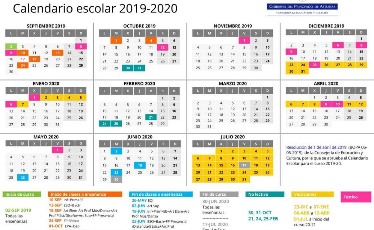 Calendario Escolar Aragon 2020.Calendario Escolar En Asturias El Martes Comienza El Curso